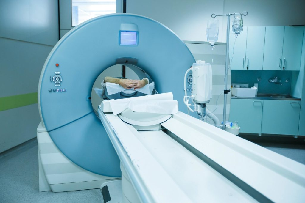CT scanner in a hospital, patient being scanned